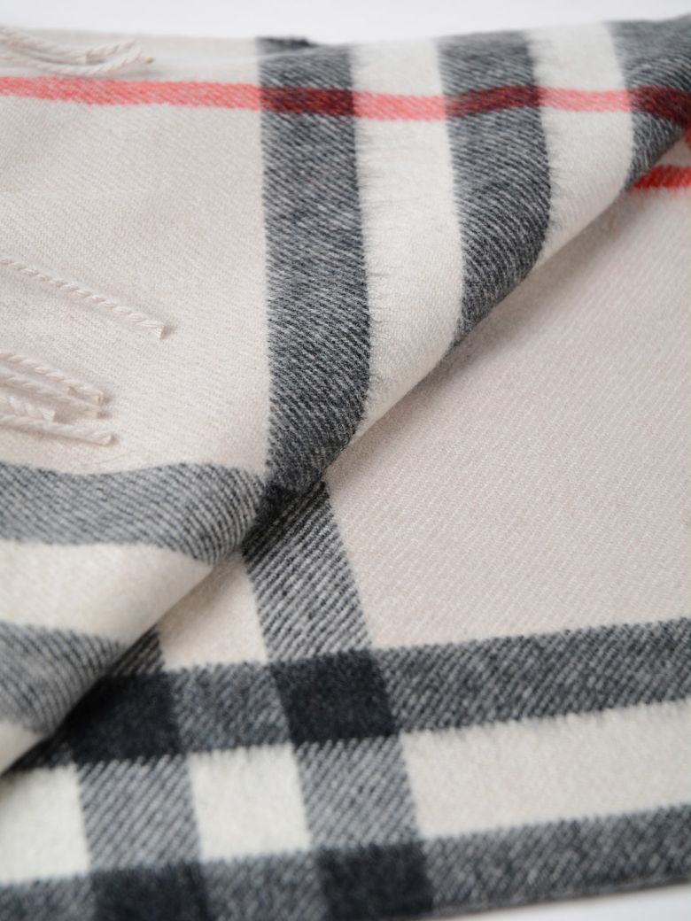 Burberry Heritage Giant Check Fringed Cashmere Muffler, Light Gray