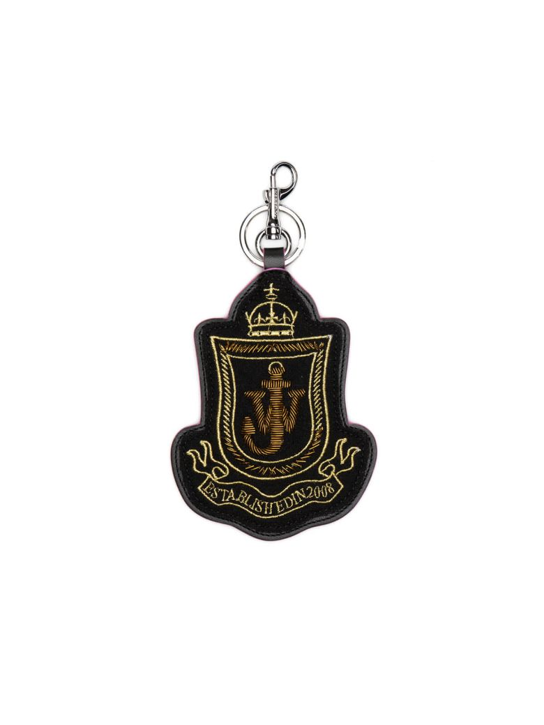 JW ANDERSON BLACK SHIELD PATCH KEYCHAIN