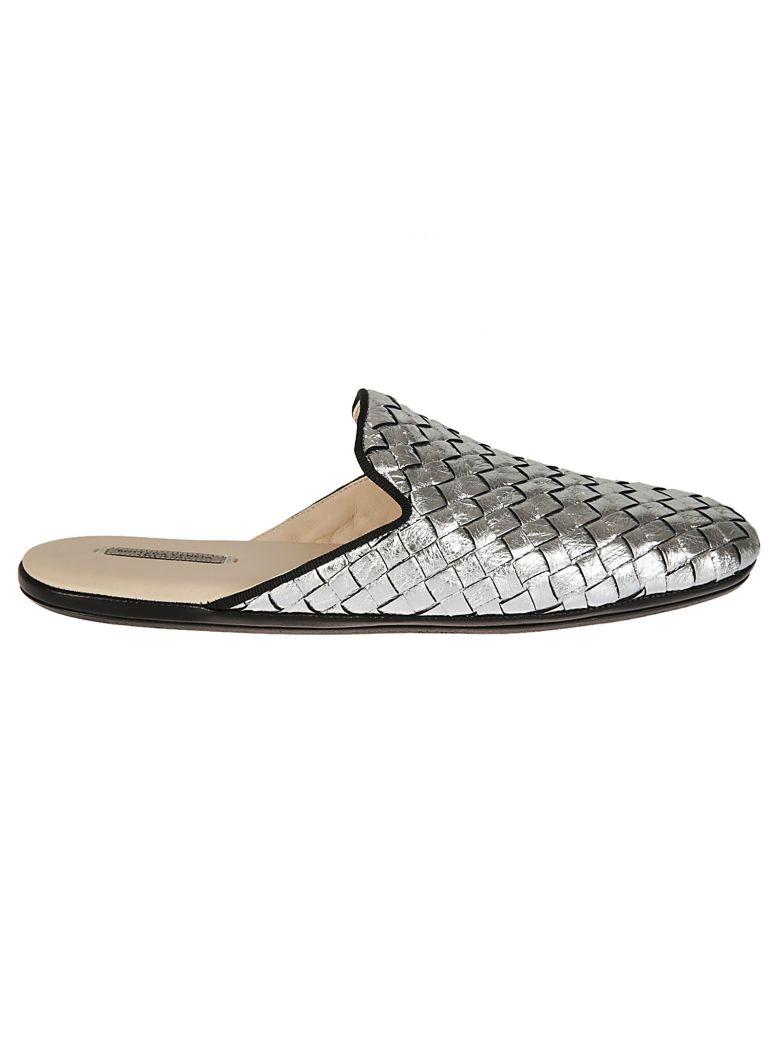 Intrecciato Leather Slippers in Silver