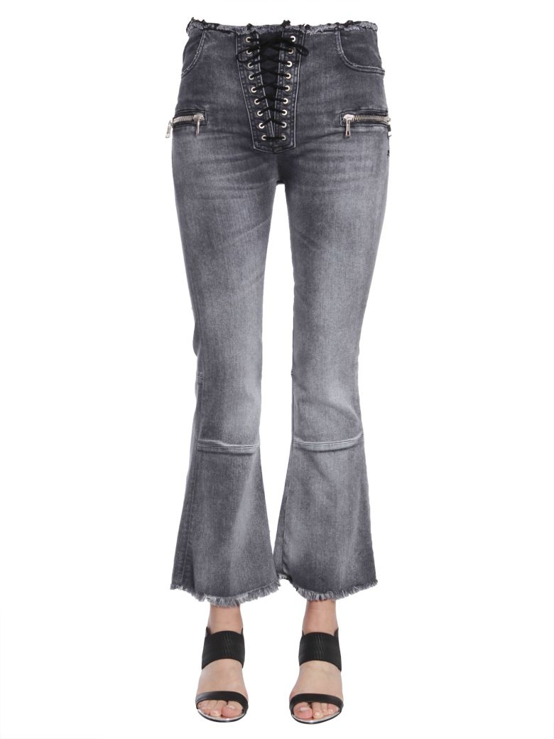 Laceup Flare Cropped Jeans in Grigio