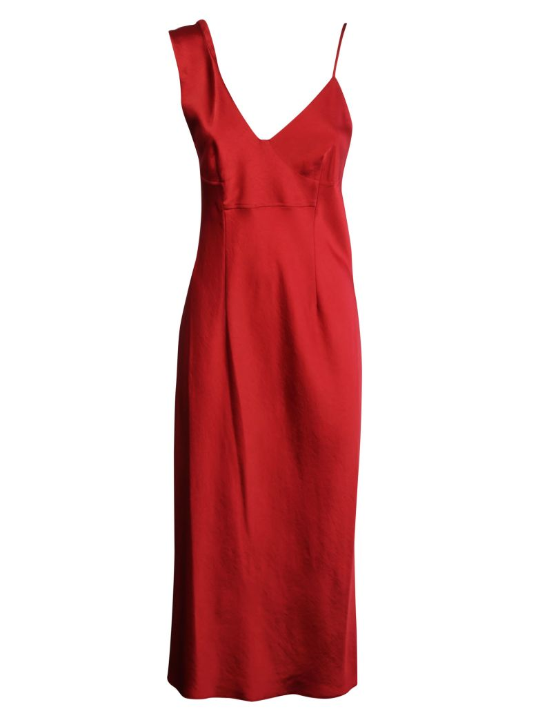 2089bd8350fc T By Alexander Wang Woman Asymmetric Satin Midi Dress Claret In Red ...