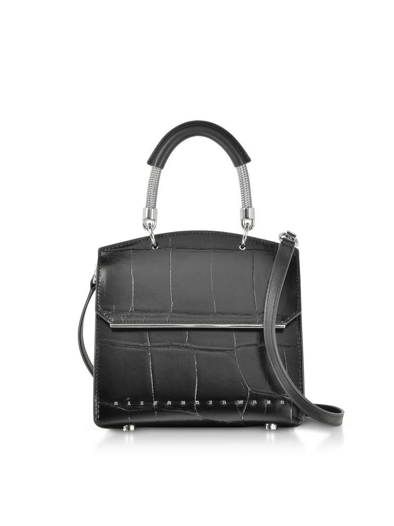 Black Oversized Embossed Croco Leather Dime Mini Flap Satchel