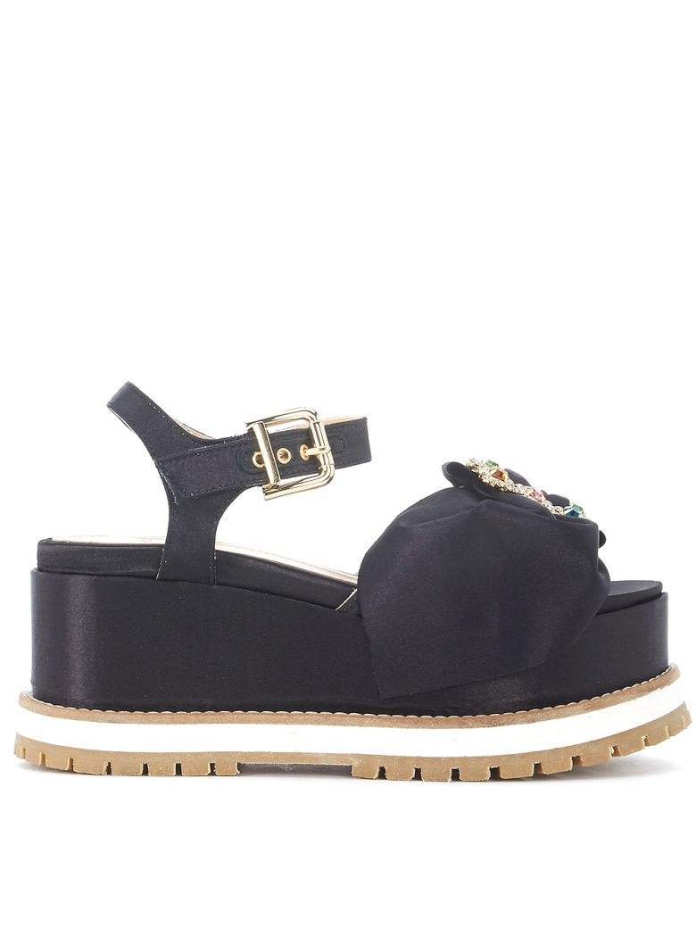 TIPE E TACCHI BLACK SATIN WEDGE SANDAL WITH JEWEL BUCKLE