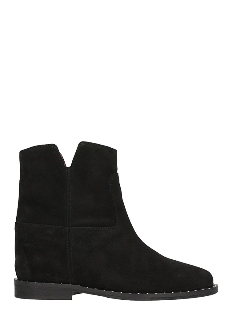 Via Roma 15 BLACK SUEDE LEATHER WEDGE ANKLE BOOTS