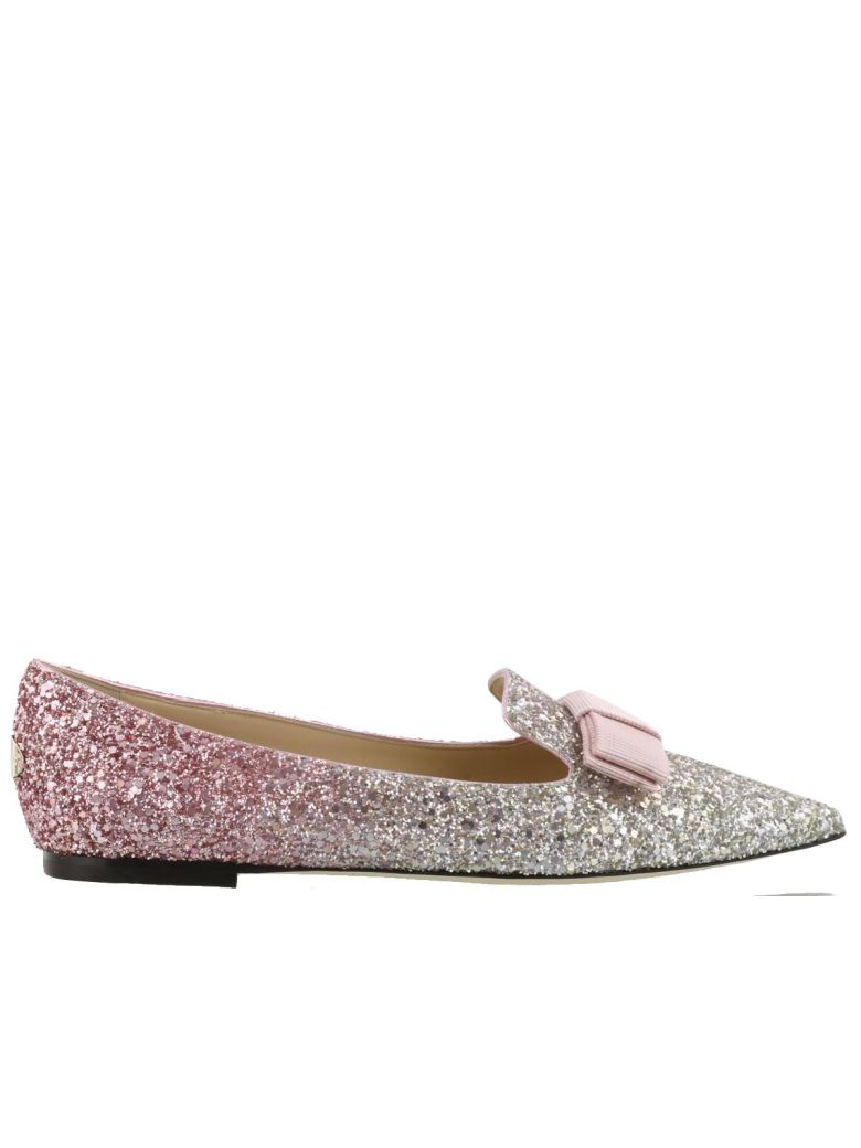 3238955360 Jimmy Choo Gala Platinum And Flamingo Ice Glitter DÉGradÉ Fabric Pointy Toe  Flats In Baby Pink