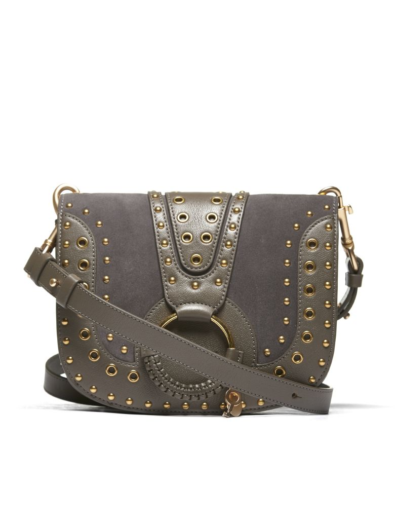 SEE BY CHLOÉ HANA SMALL GREY LEATHER SHOULDER BAG