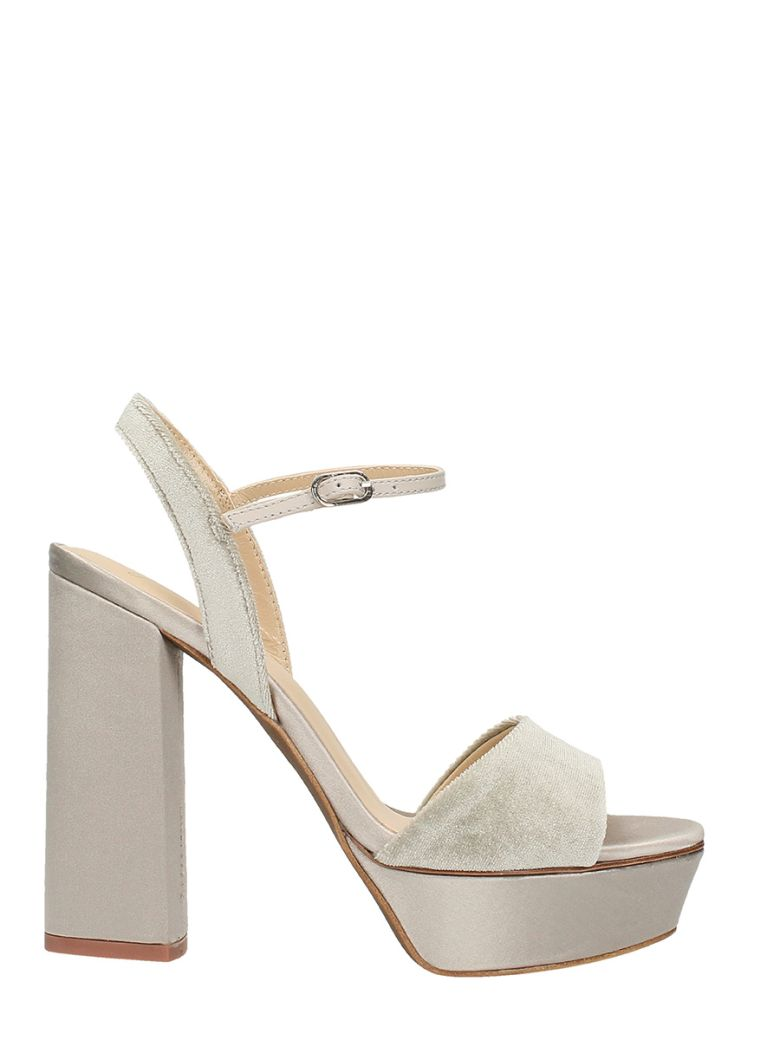 LOLA CRUZ SANDALS IN TAUPE VELVET