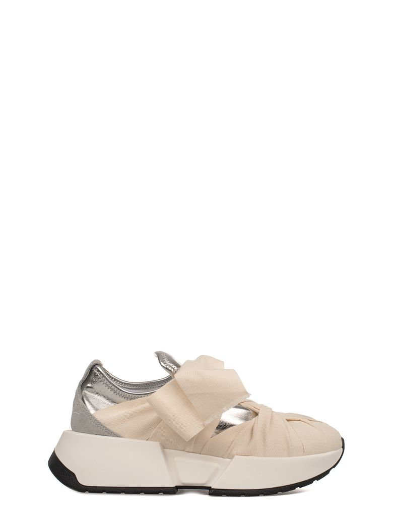 Ivory/Silver Metallic Faux Leather Slip On Wedge Sneakers, White - Silver