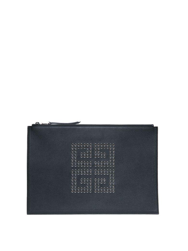 givenchy emblem leather studded pouch