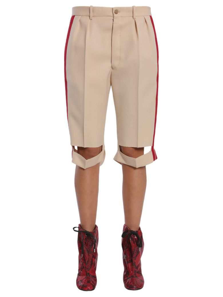 Bermuda Shorts With Side Bands in Beige