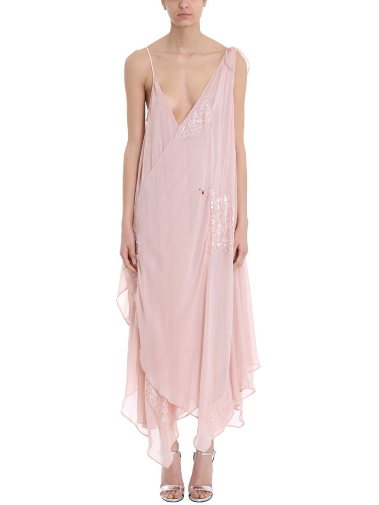 GIACOBINO Pink Silk Dress in Neutrals