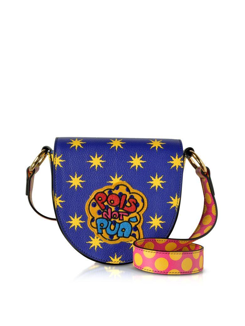 ALESSANDRO ENRIQUEZ Mini Hebe Pop Pois Leather Shoulder Bag in Blue