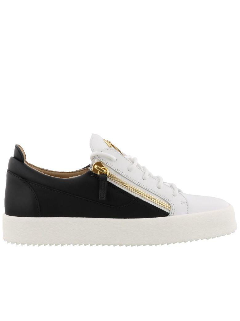 Frankie White-Black Leather Sneakers, White/ Black