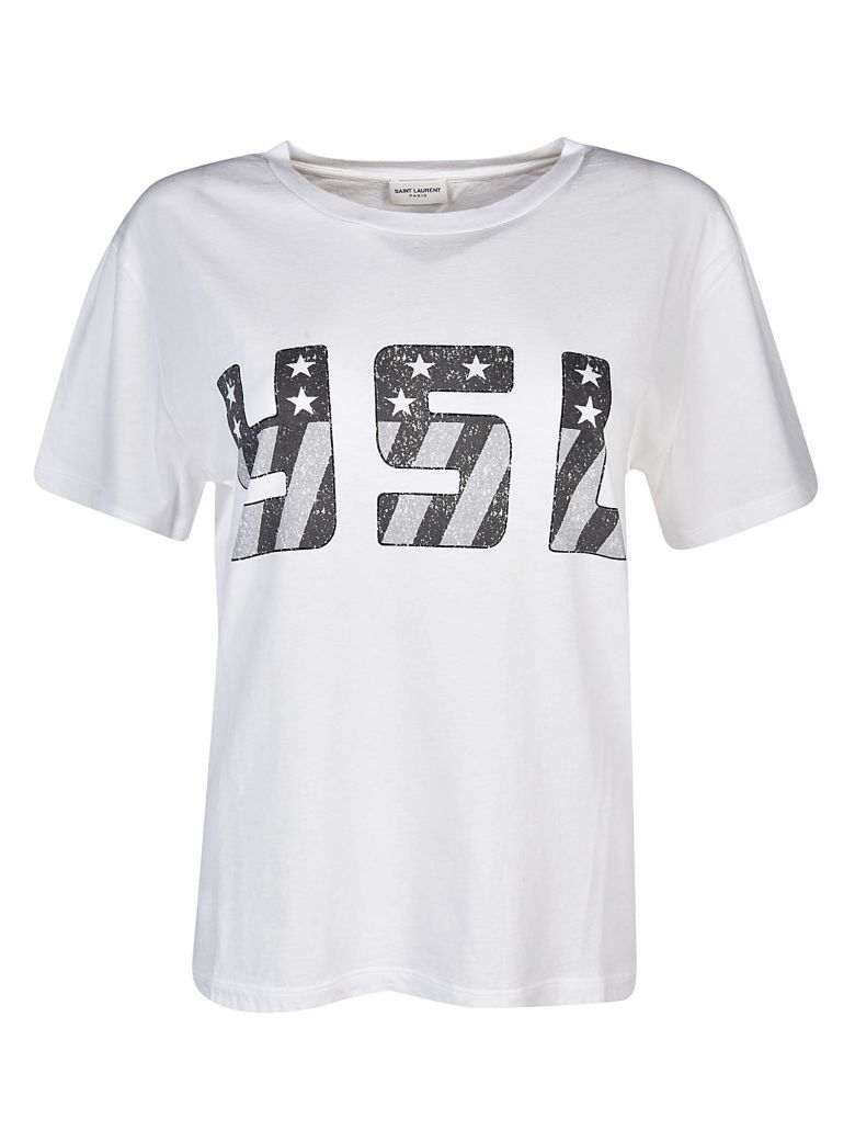 Saint laurent white jersey t shirt with ysl logo printed for Ysl logo tee shirt