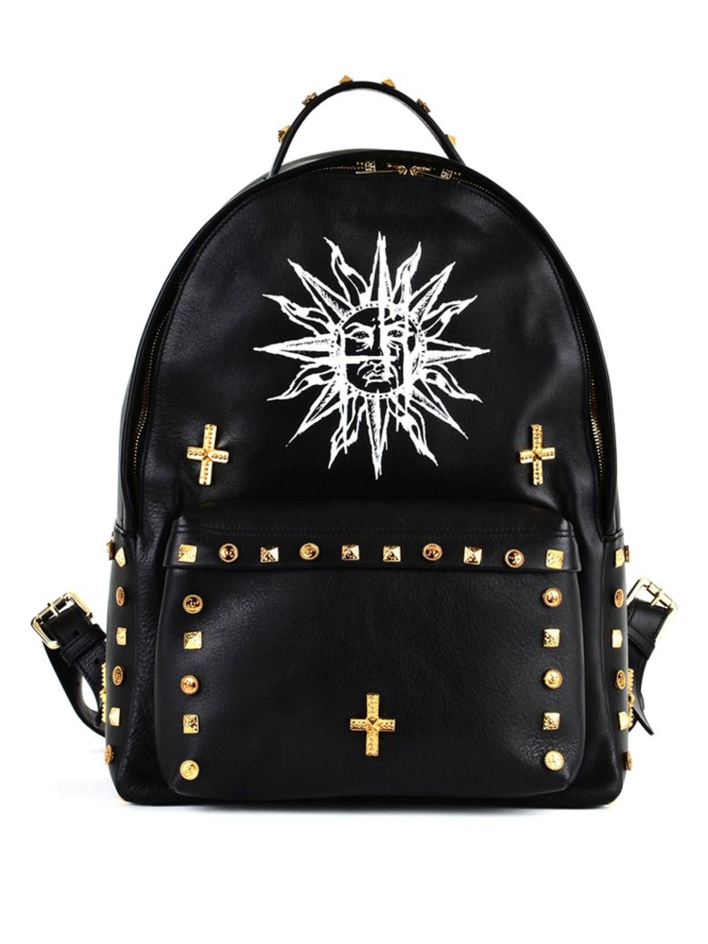 BLACK BACKPACK IN LEATHER WITH STUDS