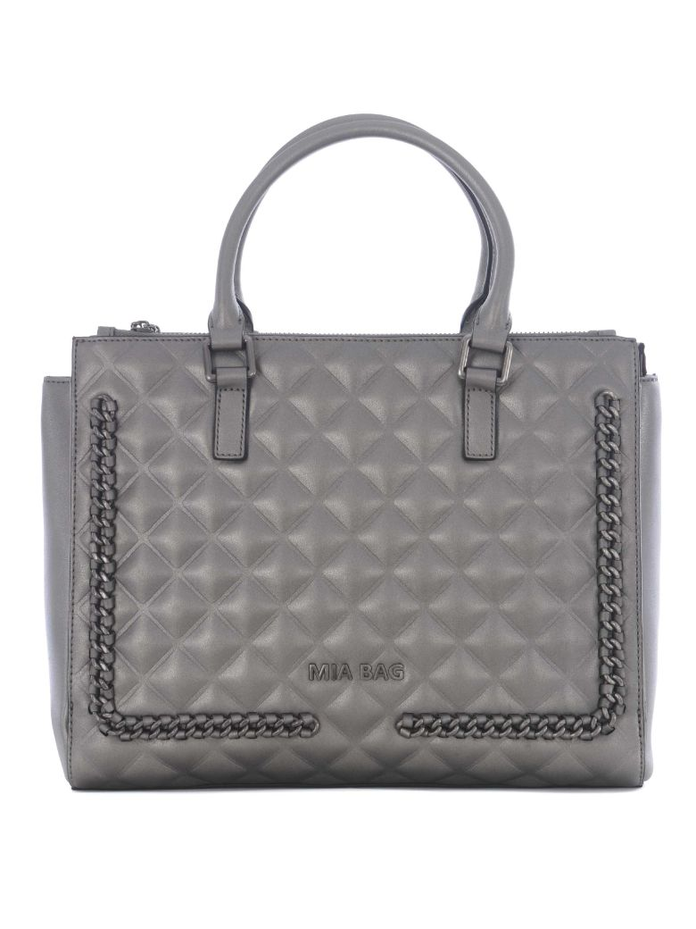 MIA BAG Knitted Quilted Tote in Platino