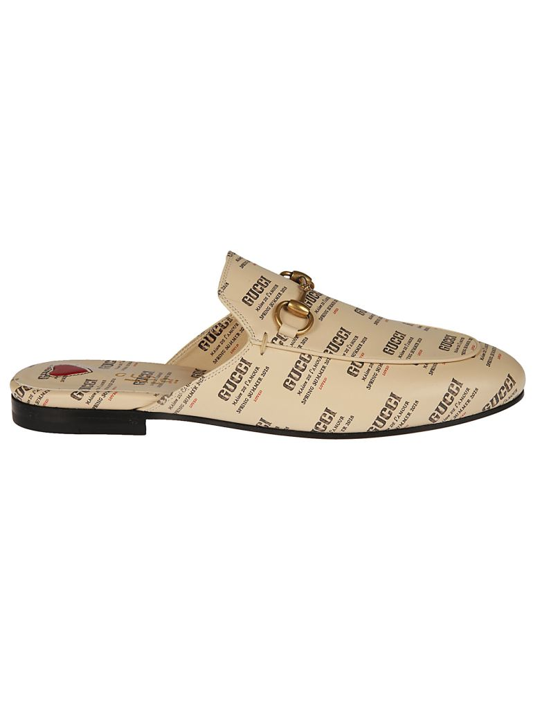 INVITE PRINT LEATHER SLIPPERS