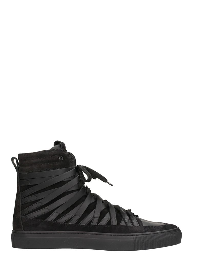 DAMIR DOMA X OFFICINE CREATIVE FALCO BLACK LEATHER AND SUEDE SNEAKERS