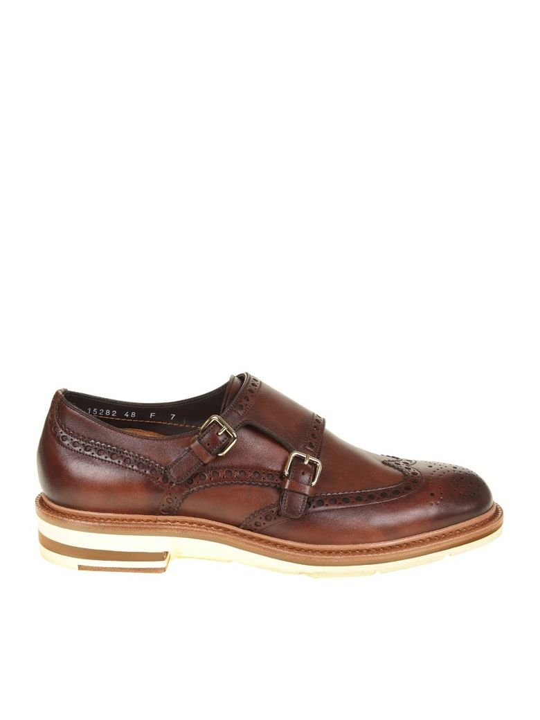Santoni  BROWN LEATHER SHOE DOUBLE BUCKLE
