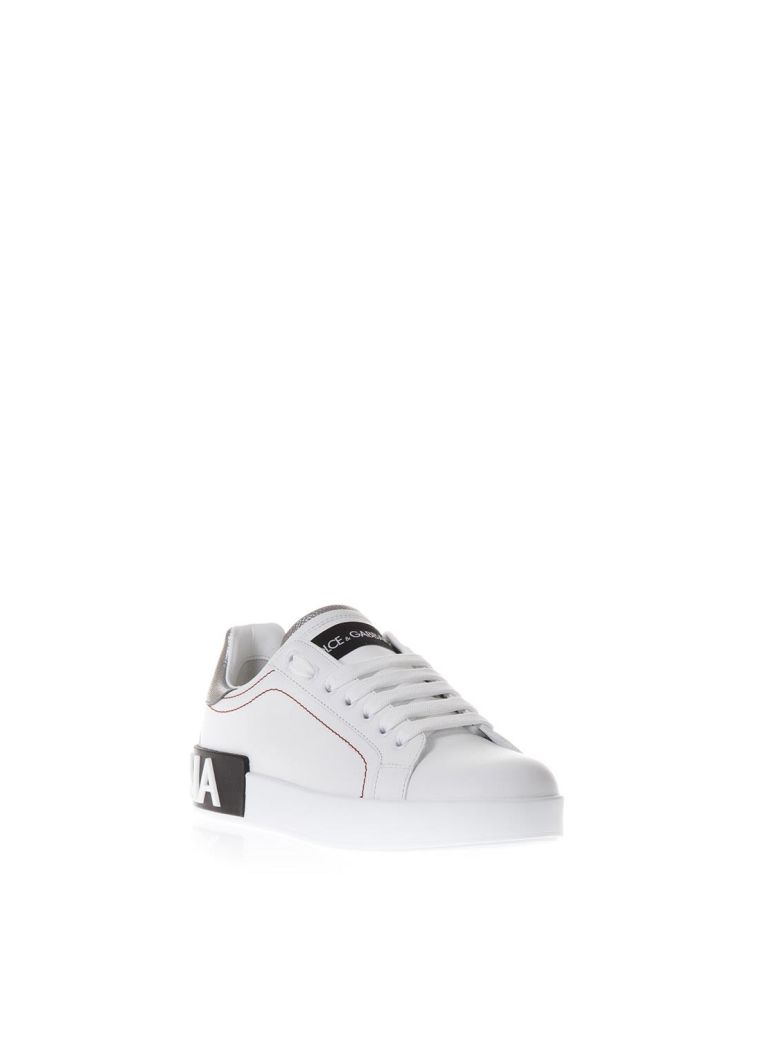 White Leather Sneakers With Back Logo Print, White/Silver