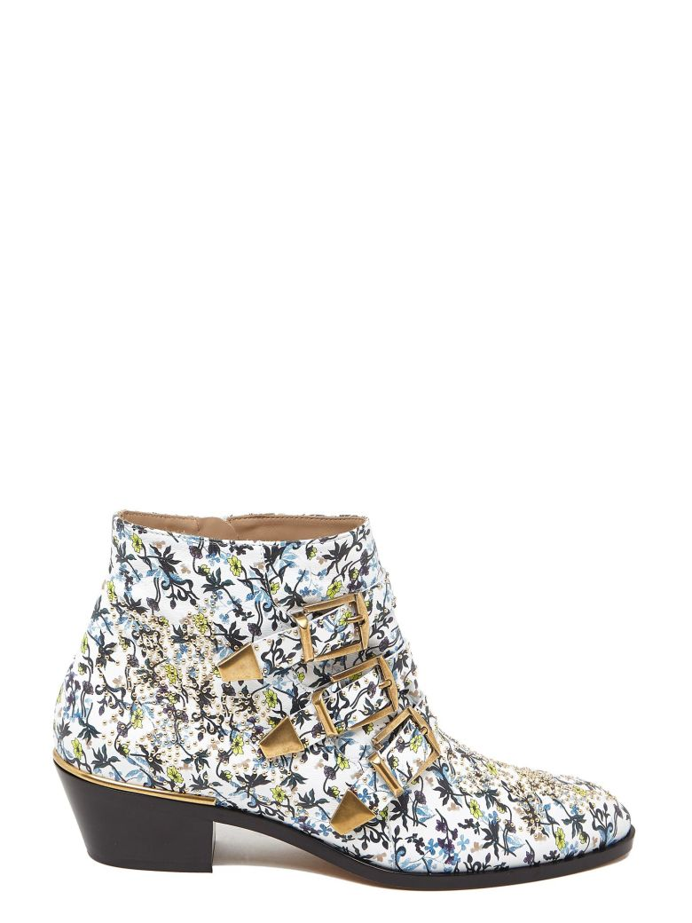 Women'S Susan Studded Floral Print Leather Booties, Multicolor
