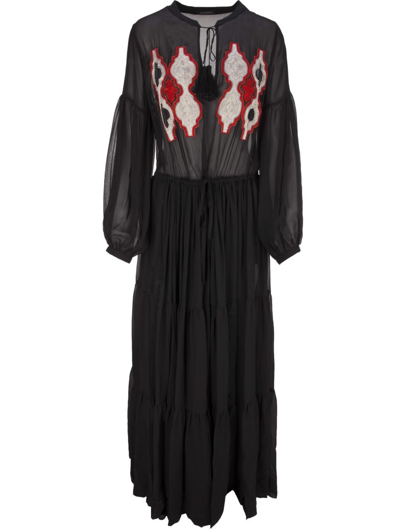 WANDERING embroidered sheer maxi dress