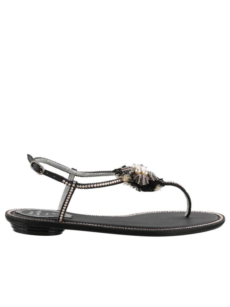 Flat Sandals Shoes Women Rene Caovilla, Black