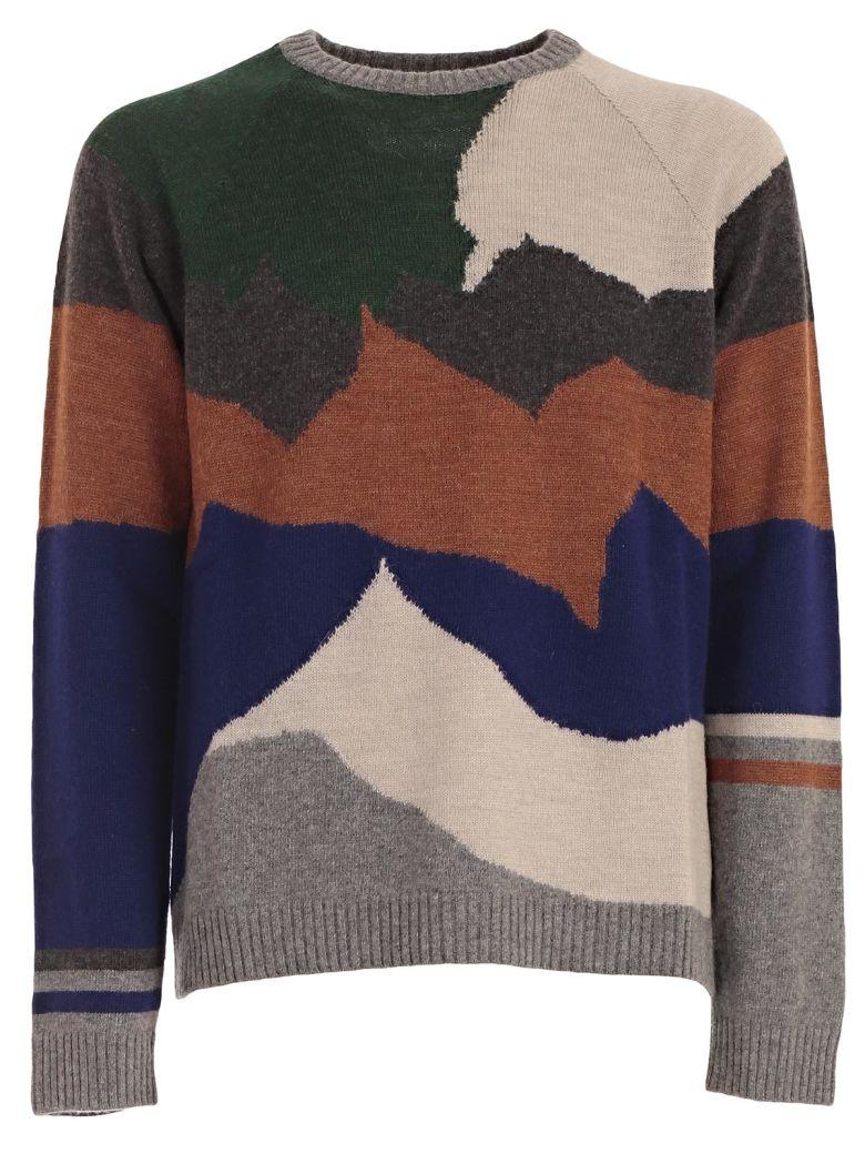 LANVIN Men'S Landscape Intarsia Crewneck Sweater, Camel Grey