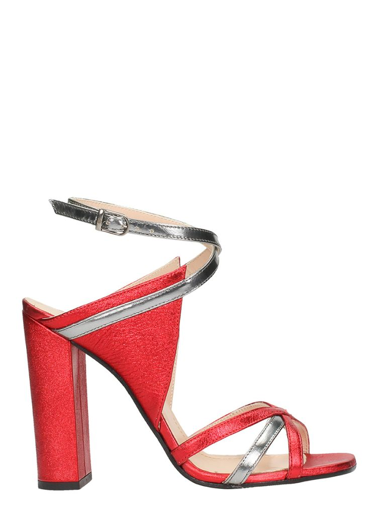 RED SILVER LEATHER SANDALS