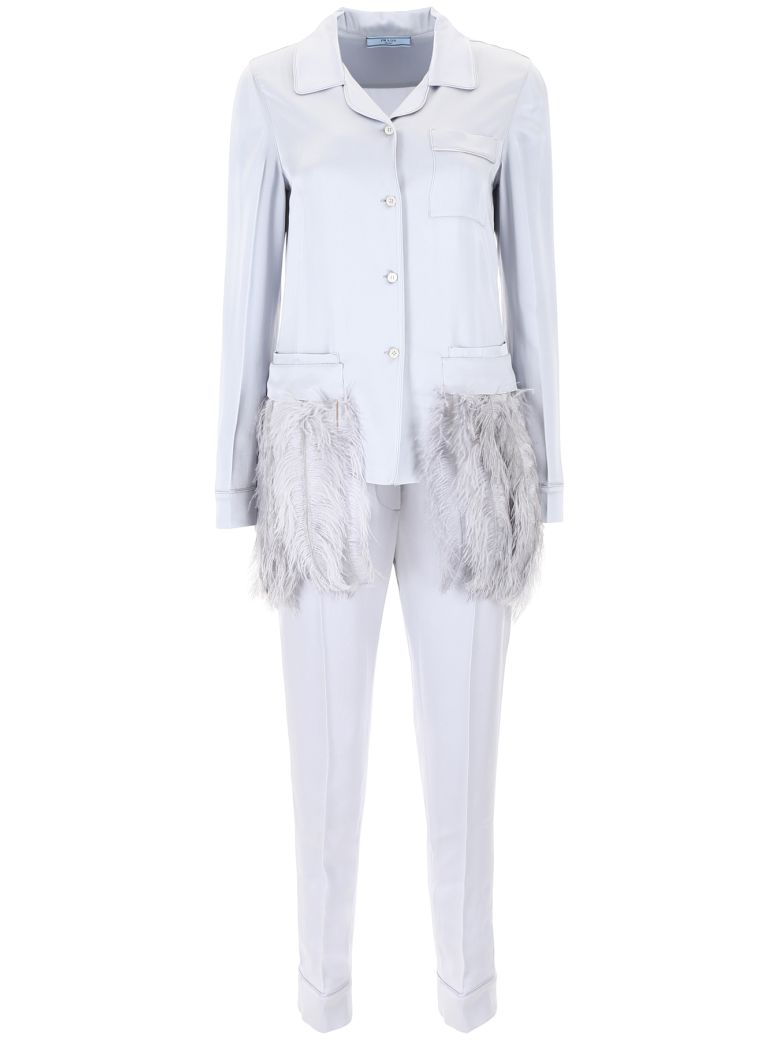 Discount Low Shipping Fee Feather-trimmed satin pyjamas Prada Discount Original Wholesale Price Online 0ILF6a