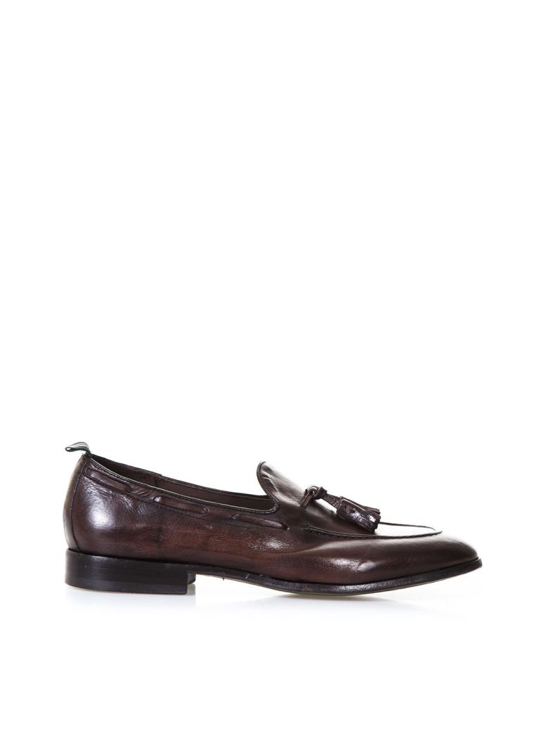 GREEN GEORGE DARK BROWN LEATHER LOAFERS WITH TASSELS