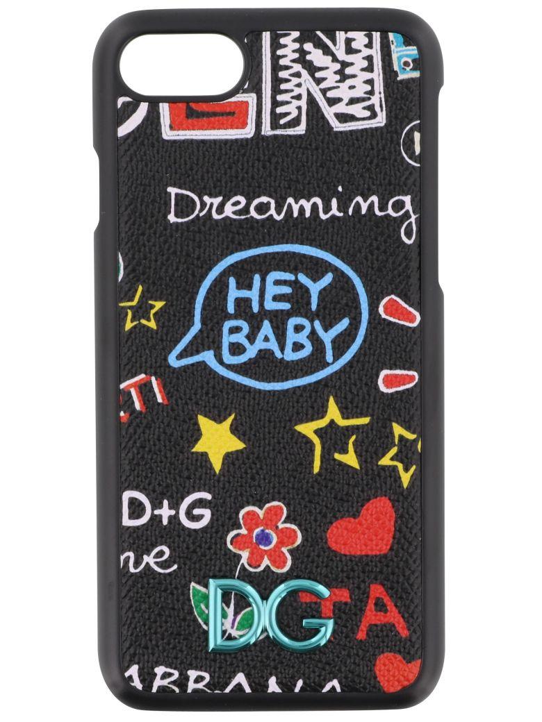 Iphone 7 Cover In Printed Dauphine Calfskin Detail, Black