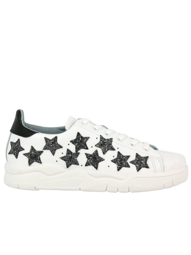 Roger White Leather Sneaker With Glitter Stars
