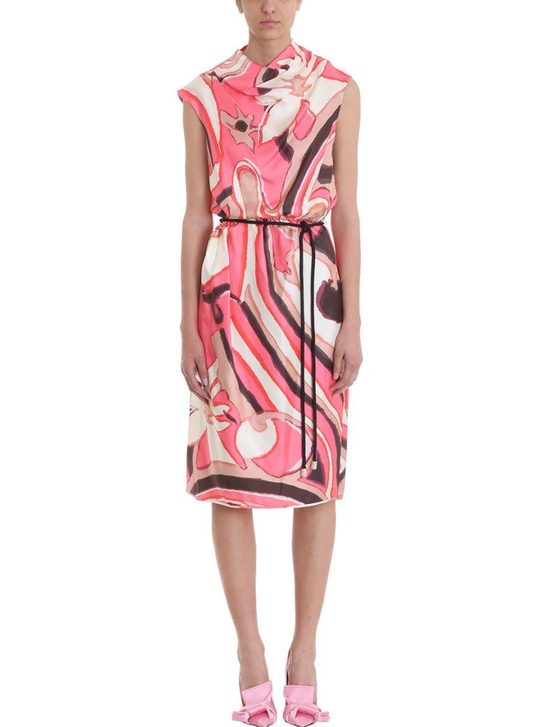 Drapped Multicoloured Silk Printed Tie Waist Dress, Rose-Pink