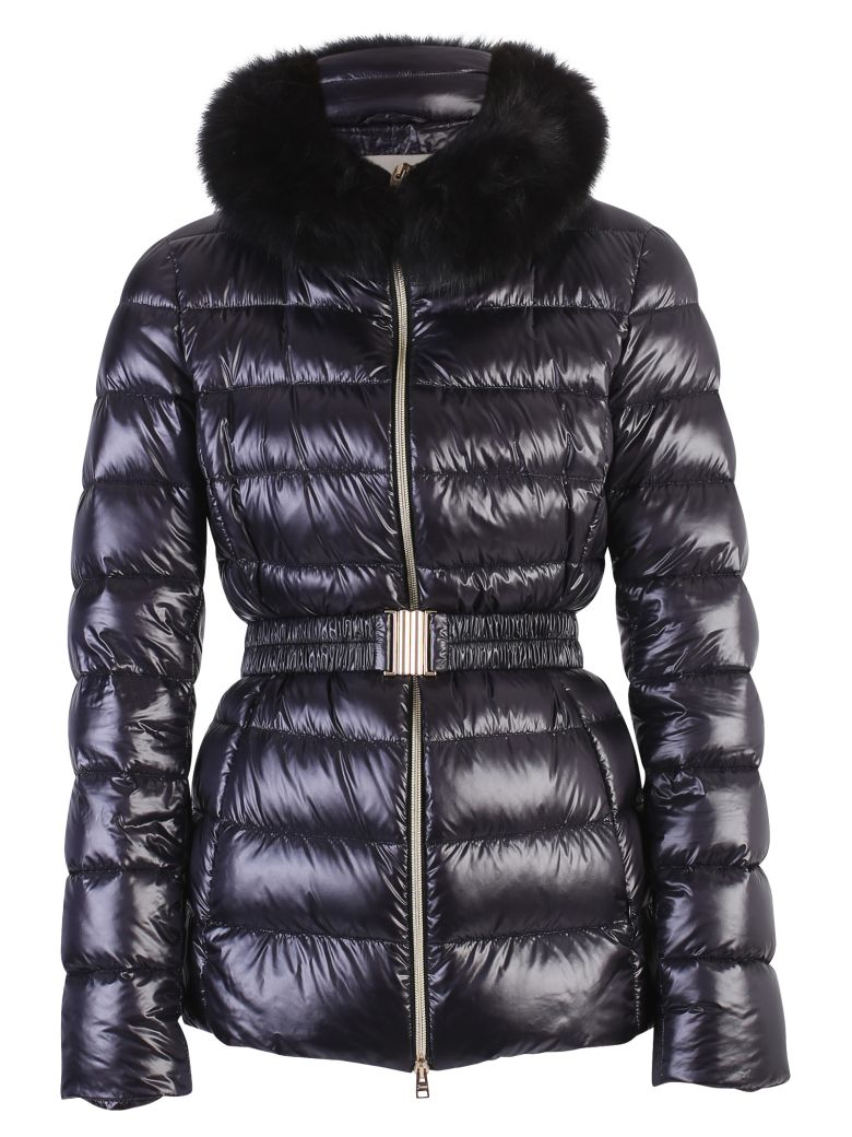 Iconic Claudia Fur-Trimmed Shell Jacket, Black