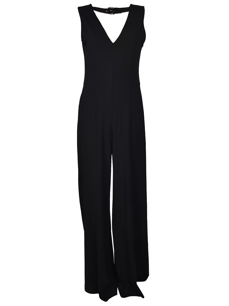 Ponte-Knit V-Neck Jumpsuit - Black Size 46 It