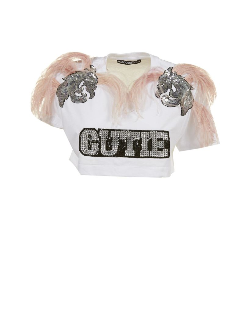 MARCOBOLOGNA MARCO BOLOGNA FEATHERED CUTIE CROP TOP