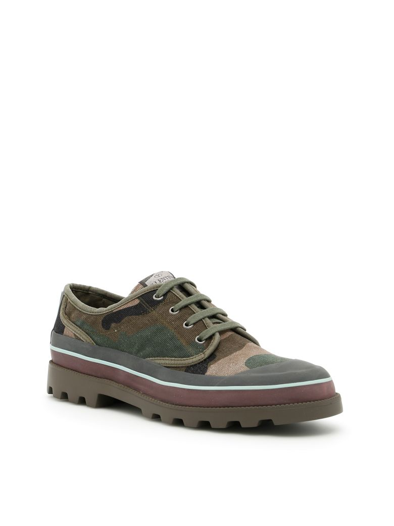 Valentino Canvas Sneakers In A.green-brush Woodverde