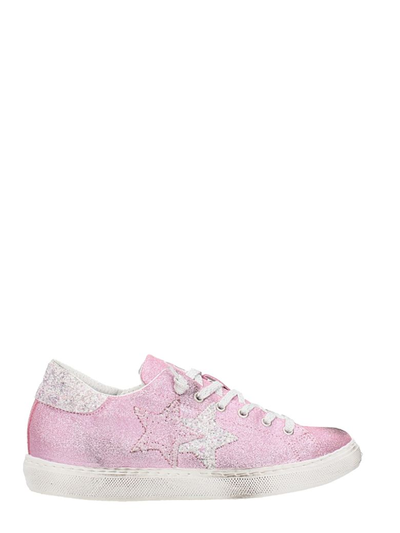 2STAR LOW GLITTER PINK LEATHER SNEAKERS