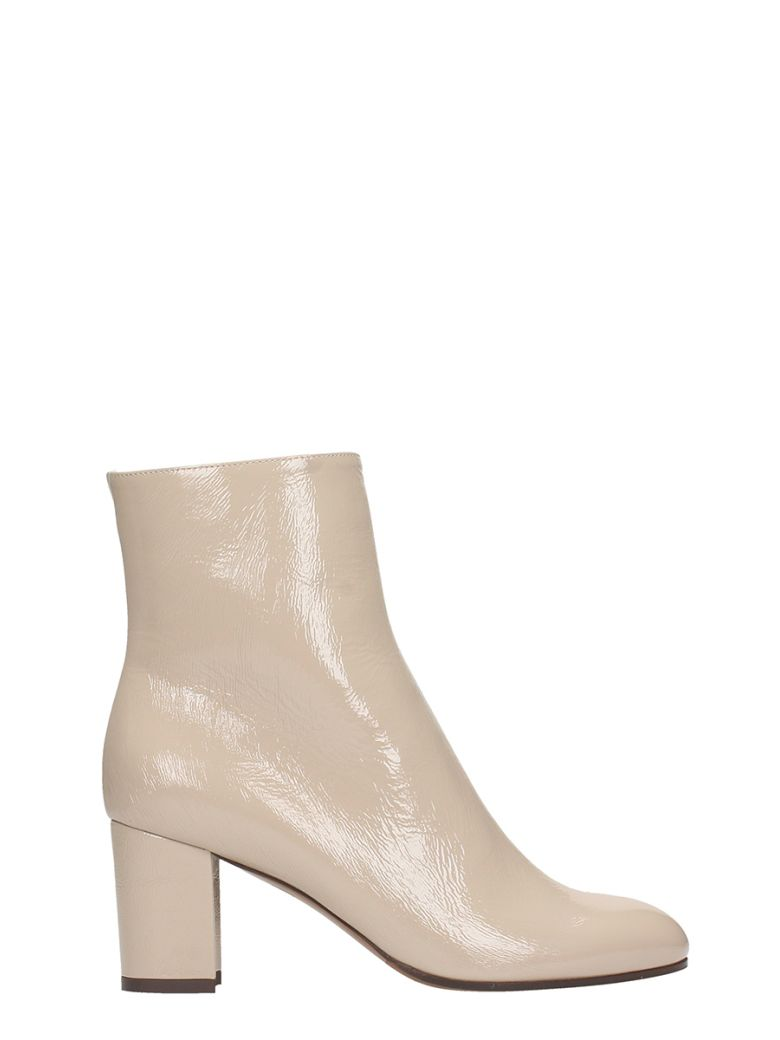 LAUTRE CHOSE GREY PATENT LEATHER ANKLE BOOTS