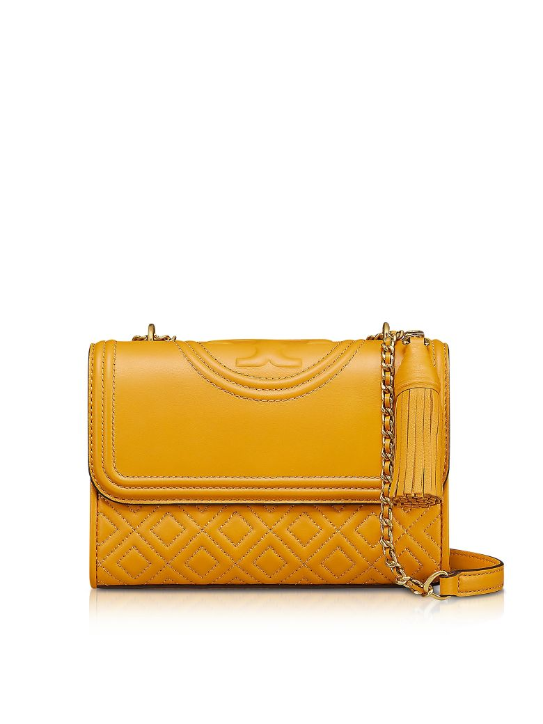 Tory Burch Small Fleming Leather Convertible Shoulder Bag Yellow Convert Medium In Daylily