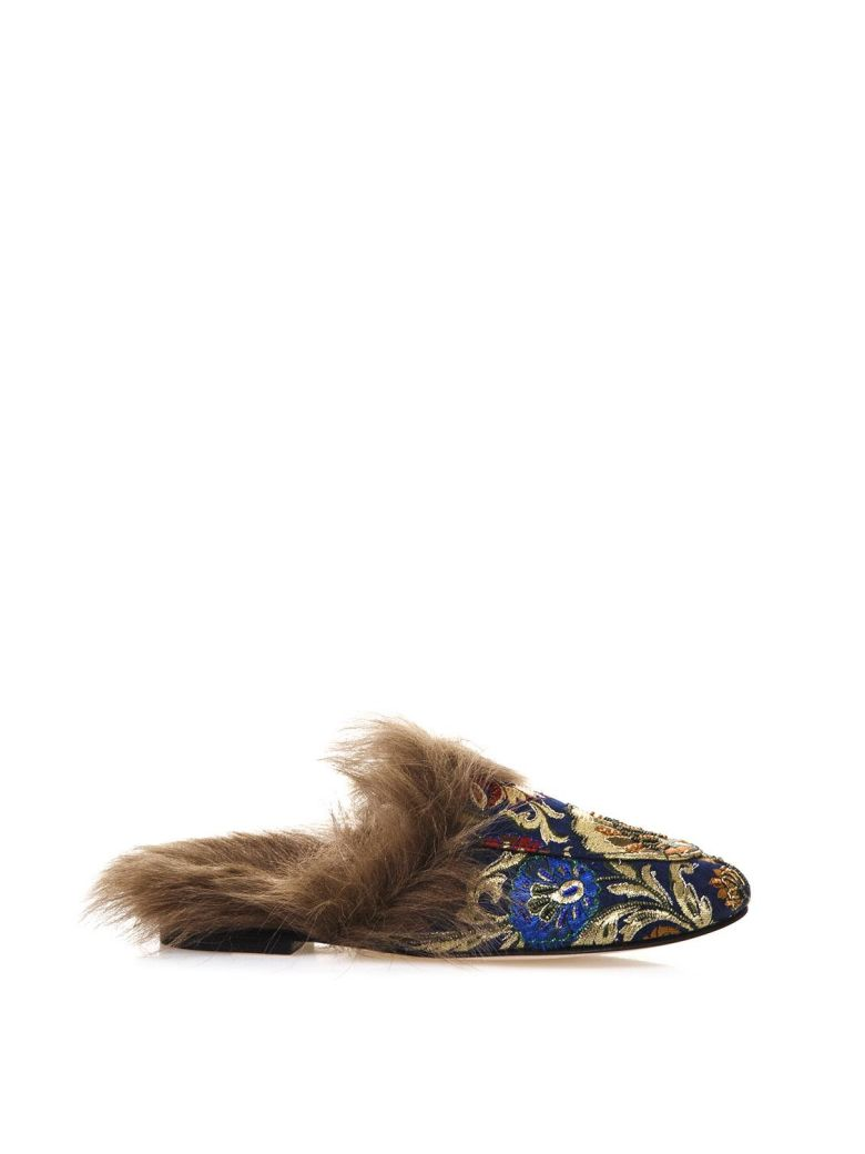 BROCADE SLIPPERS WITH FUR