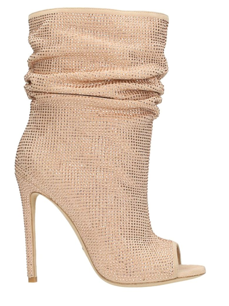 GIANNI RENZI STRASS NUDE SUEDE ANKLE BOOTS