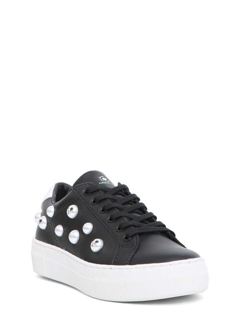 MOA MICKEY MOUSE BLACK LEATHER SNEAKER WITH PEARLS