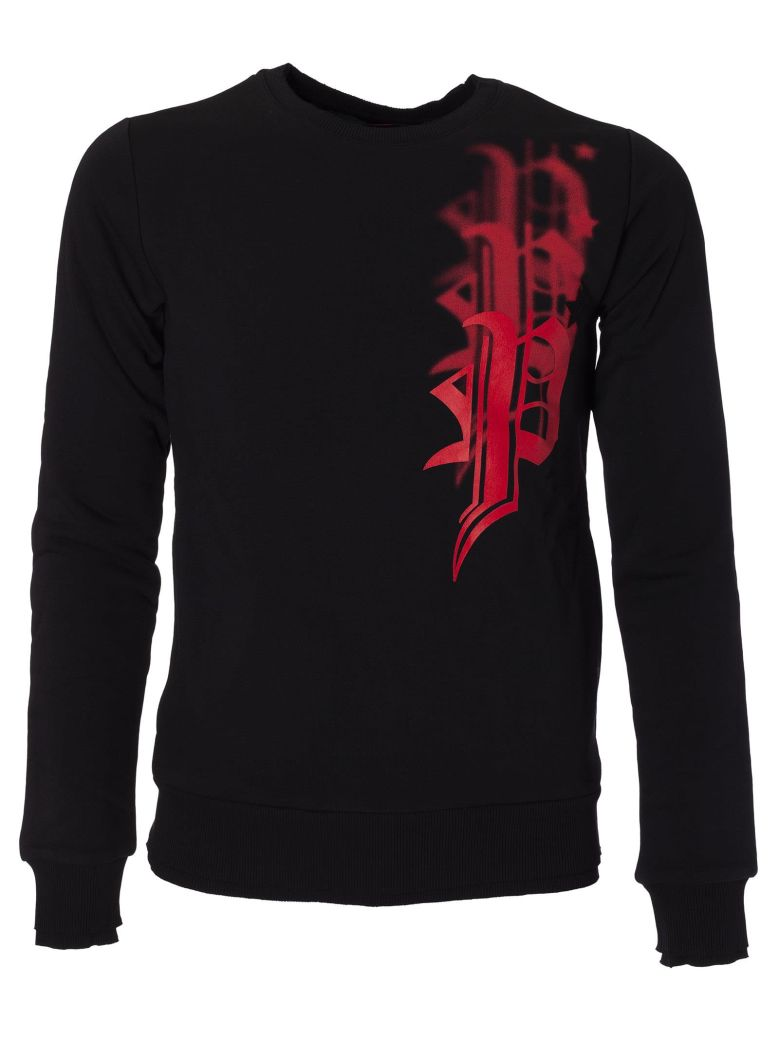 PHILIPP PLEIN Logo Patch Sweatshirt, Black-Red