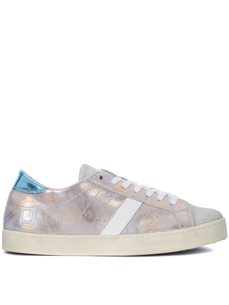 D.A.T.E. HILL LOW STARDUST LIGHT BLUE AND PINK LAMINATED LEATHER SNEAKER