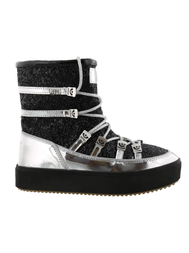 Glittered Coating Mirrow Snow Boots, Black