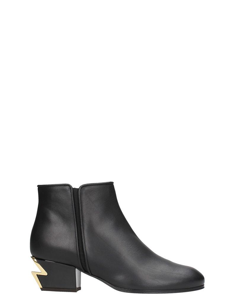 G Heel Black Calfskin Leather Mini Boot