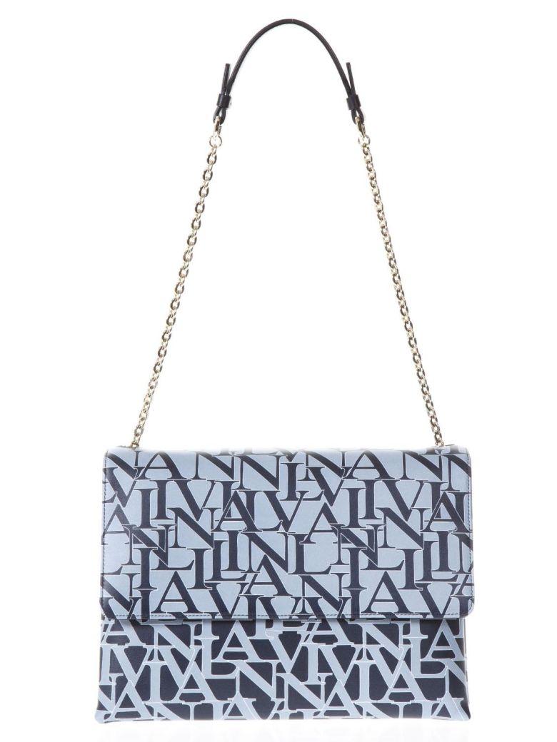 lanvin sugar logoed blue leather bag