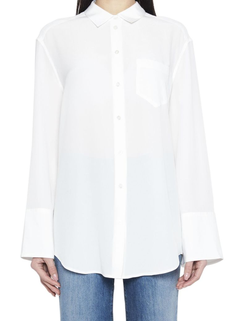 Coco Washed-Silk Shirt, White